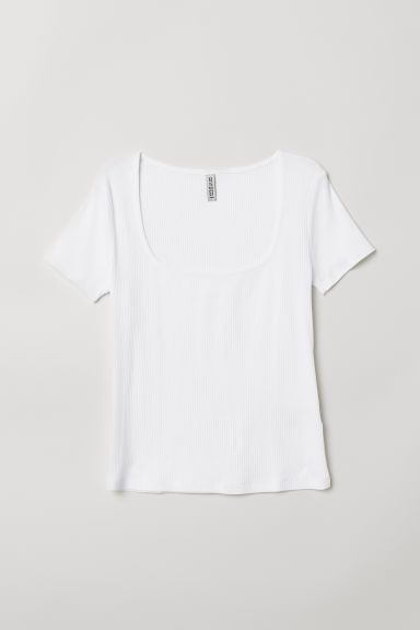 Ribbed T-shirt - White -  | H&M CN