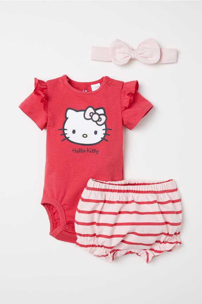 82a09e6a5 3-piece Jersey Set - Red/Hello Kitty - Kids | H&M ...