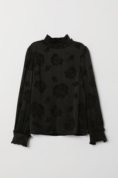 Jacquard-weave blouse - Black - Ladies | H&M