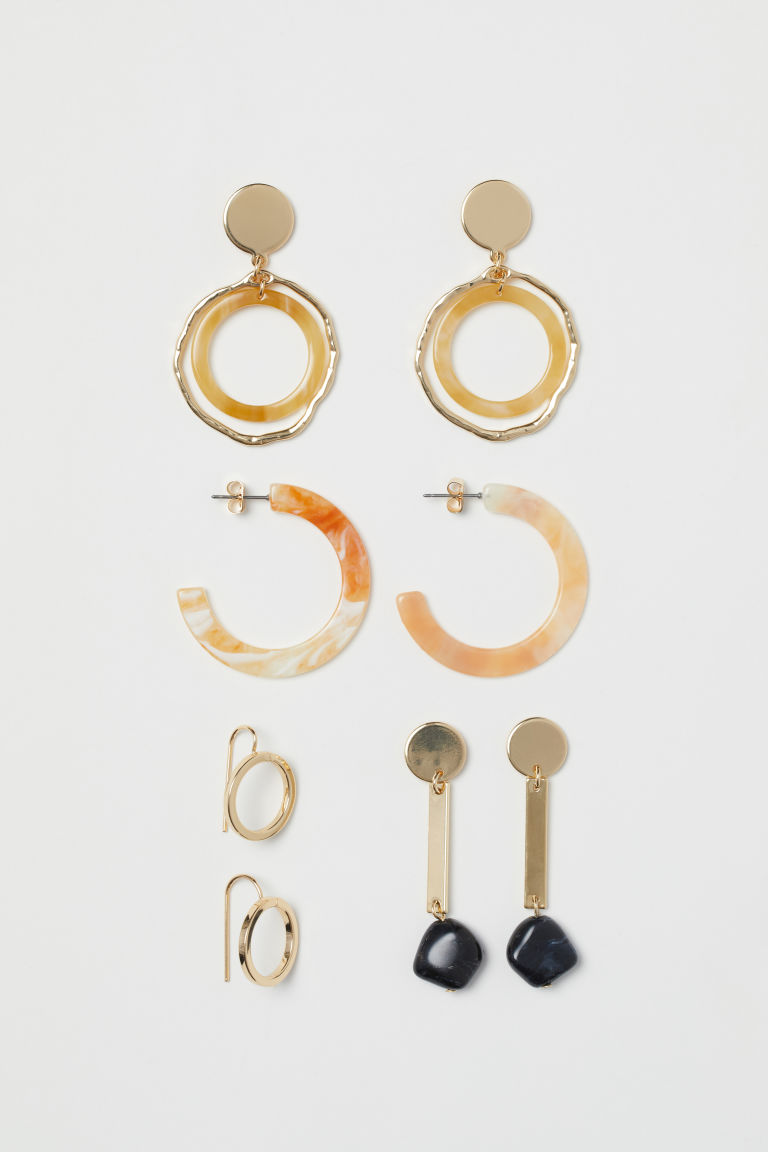 4 pairs earrings - Gold-coloured - Ladies | H&M GB