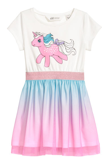 Dress with a tulle skirt - White/My Little Pony -  | H&M