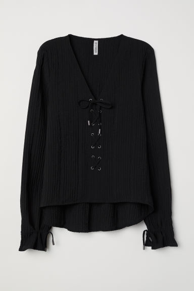Blouse with lacing - Black - Ladies | H&M
