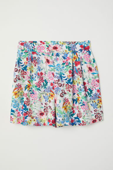 Patterned shorts - White/Floral -  | H&M