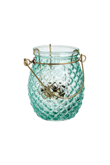 Glass tealight holder - Light turquoise -  | H&M CN