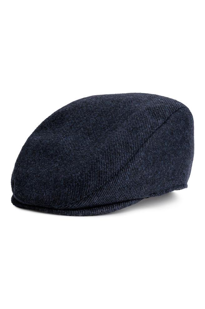 33837651d3b4b Wool-blend Flat Cap - Dark blue melange - Men