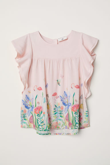 Flounce-sleeved top - Light pink/Flowers - Kids | H&M