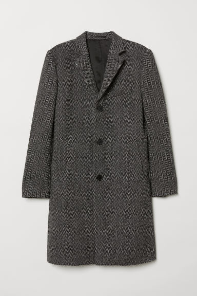 Wool-blend coat - Black and white - Men | H&M CN