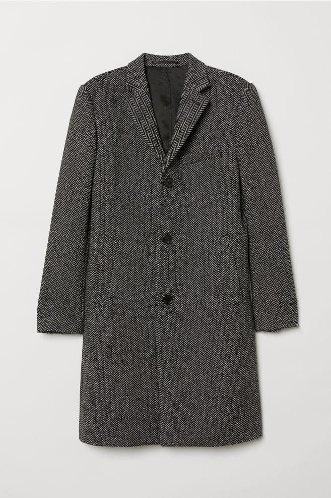 Kabát z vlnenej zmesi - čierna a biela - MUŽI  137fd9d88b7