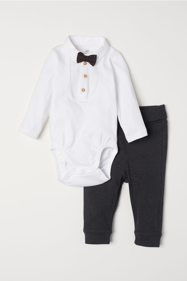 1018278ca6fc Shirt-style Bodysuit and Pants - Dark gray - Kids