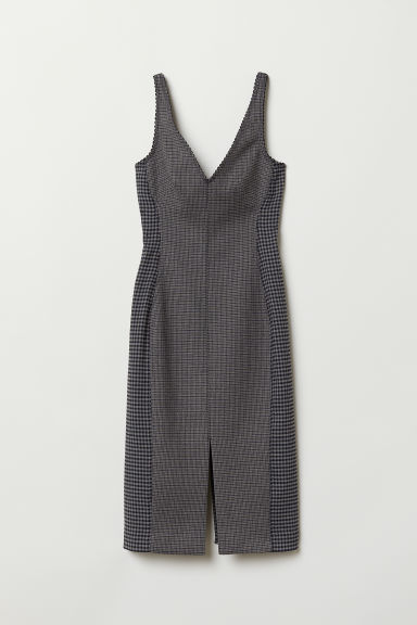 V-neck dress - Grey/Checked - Ladies | H&M CN