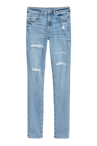 Skinny High Jeans - Light denim blue/Trashed - Ladies | H&M