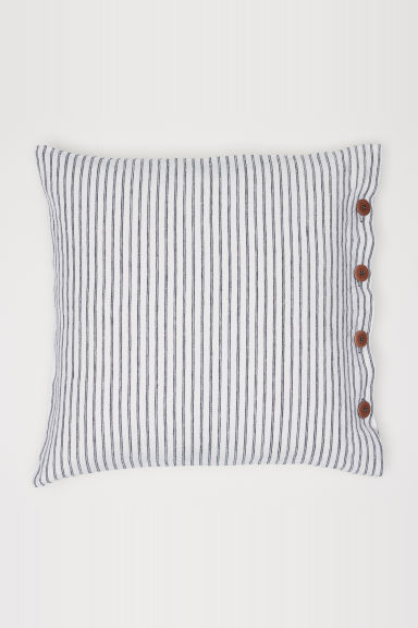 Washed linen cushion cover - White/Grey striped - Home All | H&M CN
