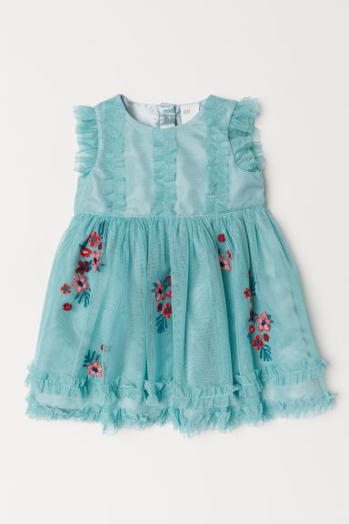 Mesh dress with embroidery - Light green - Kids | H&M CN