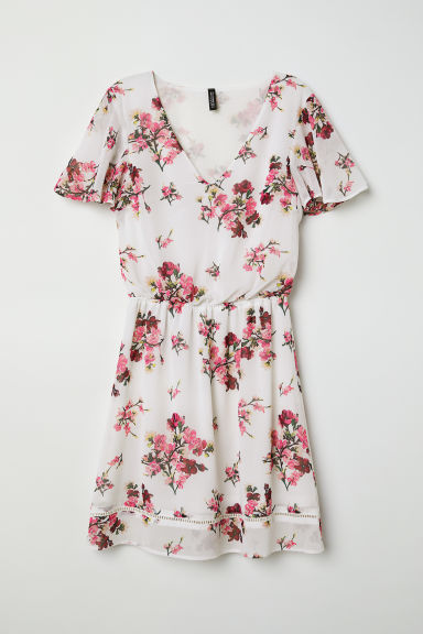 Chiffon dress - Natural white/Floral -  | H&M CN
