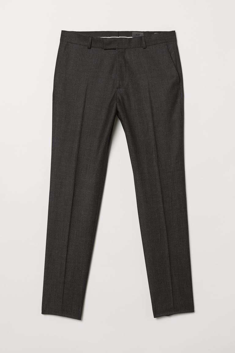 Wollen broek - Slim fit - Zwart gemêleerd - HEREN | H&M BE