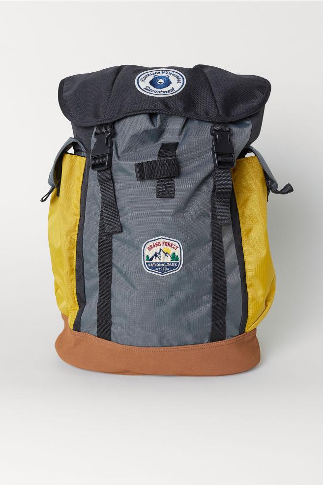 13fa11cb40b6 Block-coloured backpack - Grey Yellow - Men