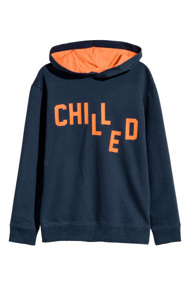 Printed hooded top - Dark blue/Chilled -  | H&M CN