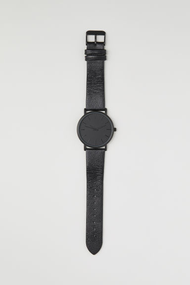 Watch with a leather strap - Black - Men | H&M CN