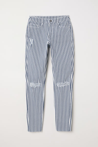 Super Skinny Regular Jeans - 白色/蓝色条纹 - Ladies | H&M CN