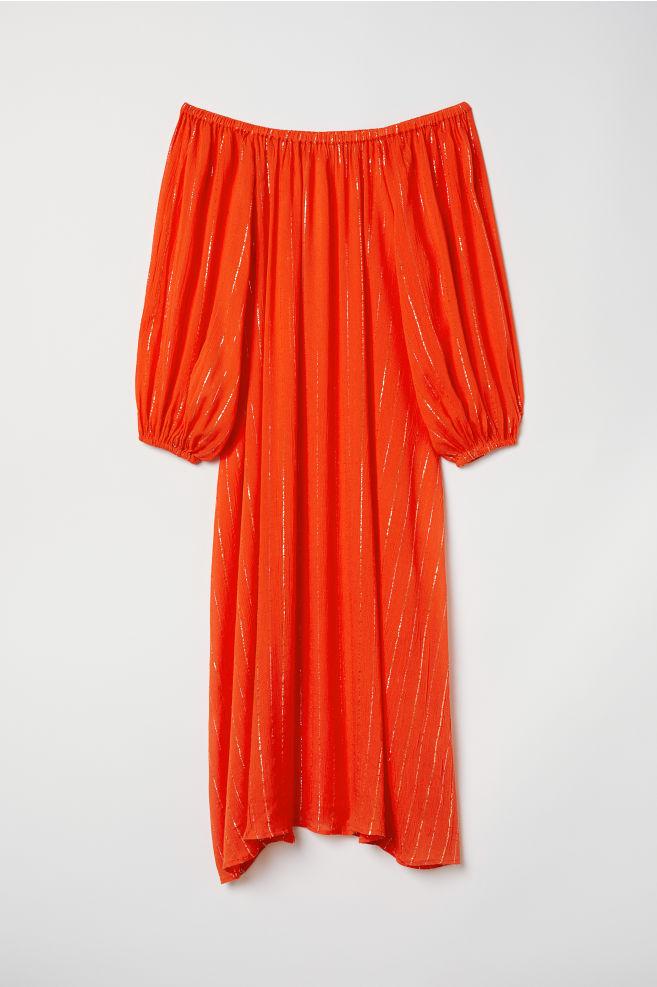 9e4fb6fa43d6 Off-the-shoulder dress - Orange/Striped - Ladies | H&M ...
