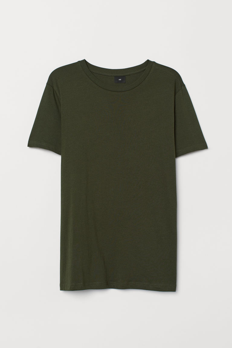 Cotton T-shirt Regular Fit - Khaki green - Men | H&M GB