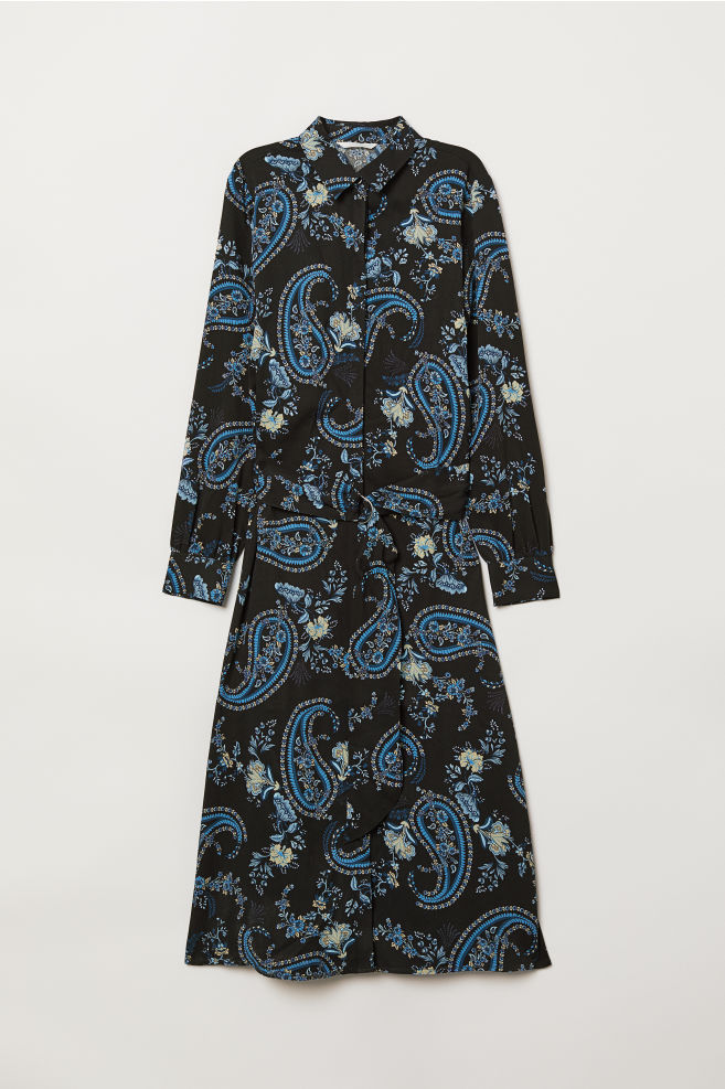 05e0894cdc Calf-length Shirt Dress - Black floral -
