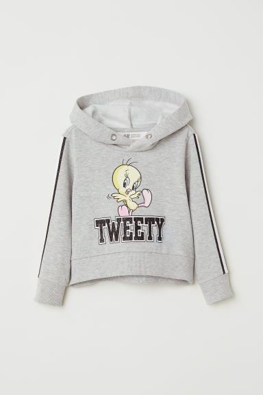 Short printed hooded top - Light grey/Looney Tunes -  | H&M