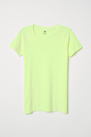 Seamless sports top - Neon yellow - Ladies | H&M