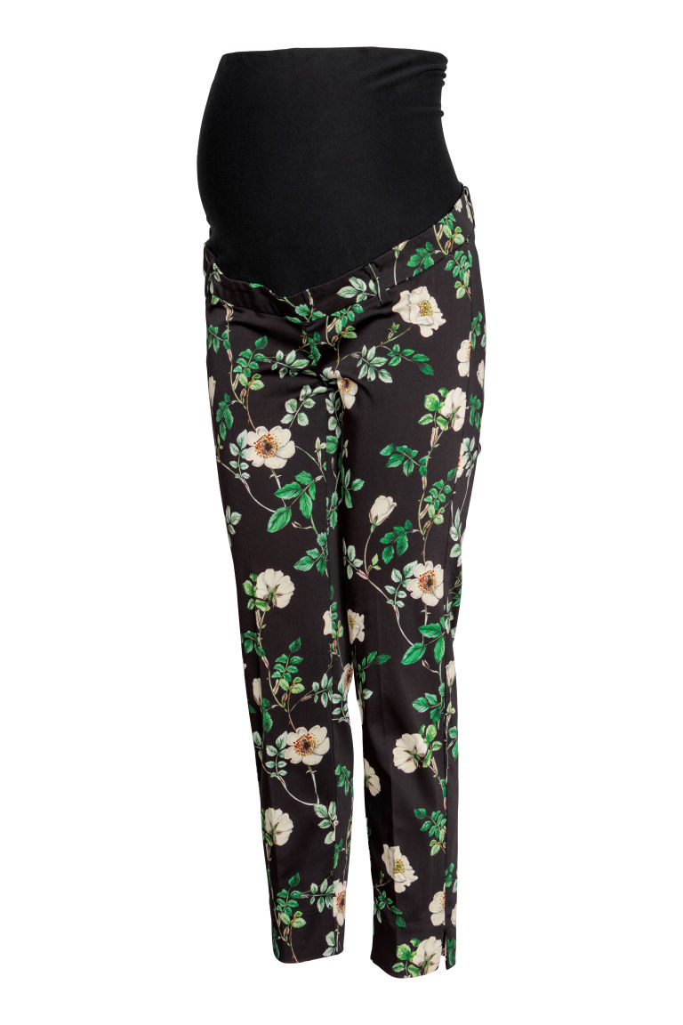 MAMA Cigarette trousers - Dark blue/Floral - Ladies | H&M CN