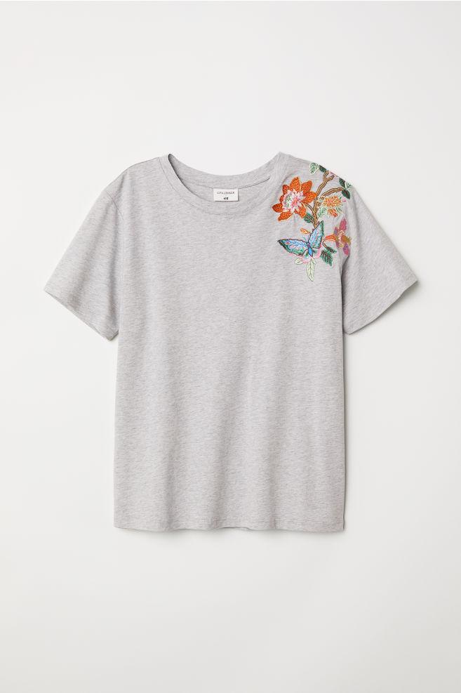 f6d3effdd474b T-shirt avec motif - Gris chiné - FEMME   H M ...