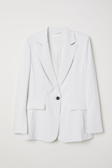 Single-breasted jacket - White/Striped -  | H&M