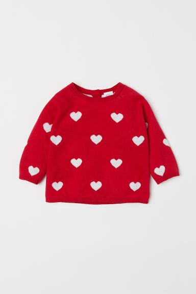 Jacquard-knit jumper - Red/Hearts - Kids | H&M CN