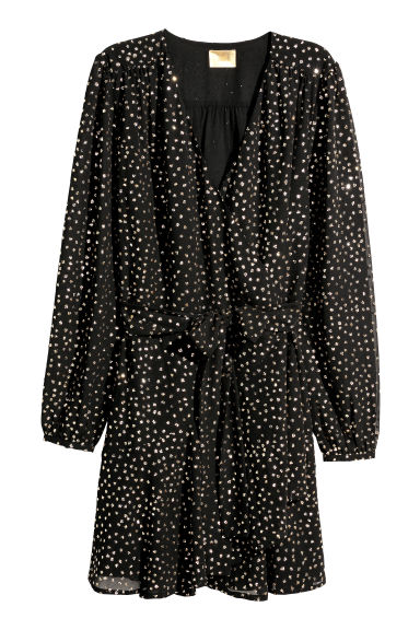 Glittery wrap dress - Black/Gold-coloured -  | H&M