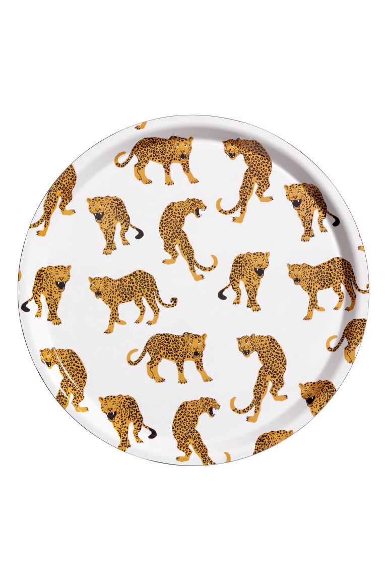 Round tray - White/Leopards - Home All | H&M GB