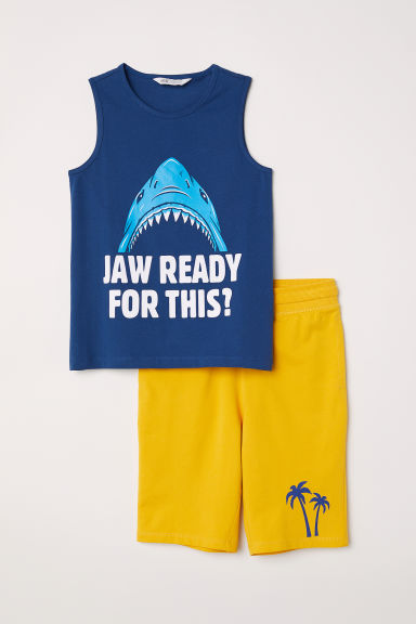 Vest top and shorts - Blue/Shark -  | H&M CN