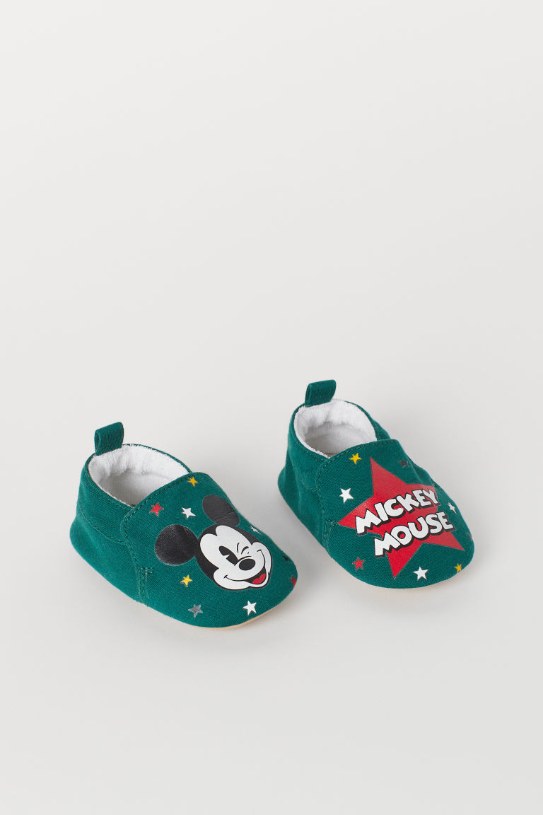 Pantofole morbide - Verde scuro/Topolino -  | H&M IT