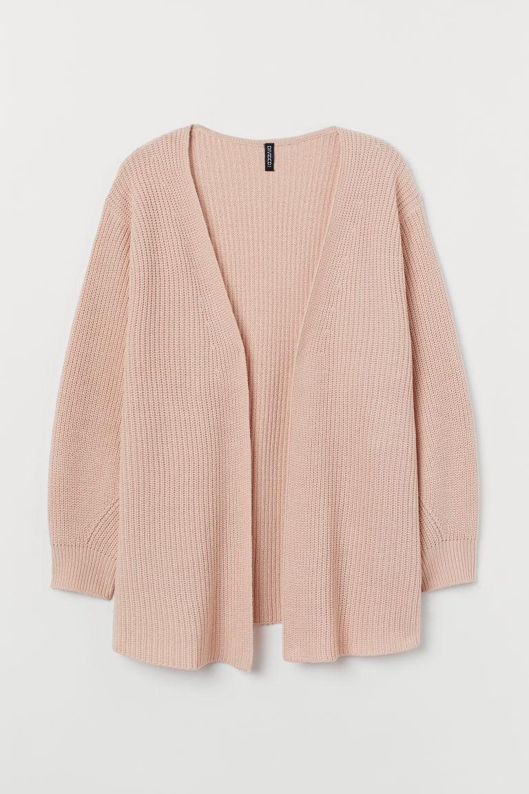 H&M+ Ribbed cardigan - Powder pink - Ladies
