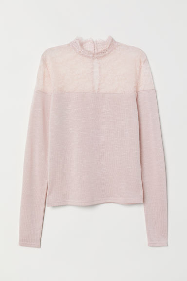Fine-knit jumper with lace - Light pink -  | H&M