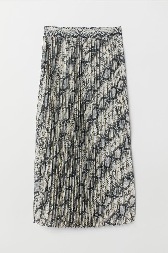 f2843b31d0 Pleated skirt - Nat. white/Snakeskin pattern - Ladies | H&M ...
