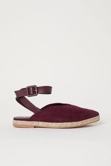 Espadrilles with ankle strap - Plum -  | H&M