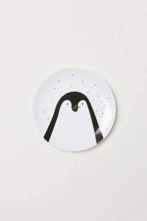 Plate with a penguin motif