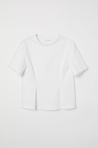 Top with pleats - White -  | H&M CN
