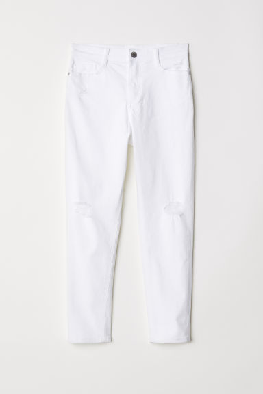 Twill trousers Trashed - White -  | H&M