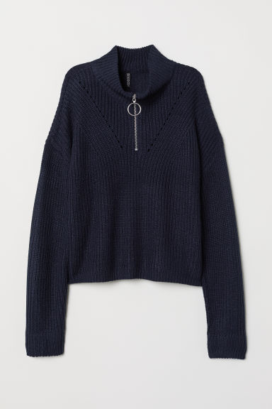 Textured-knit jumper - Dark blue - Ladies | H&M