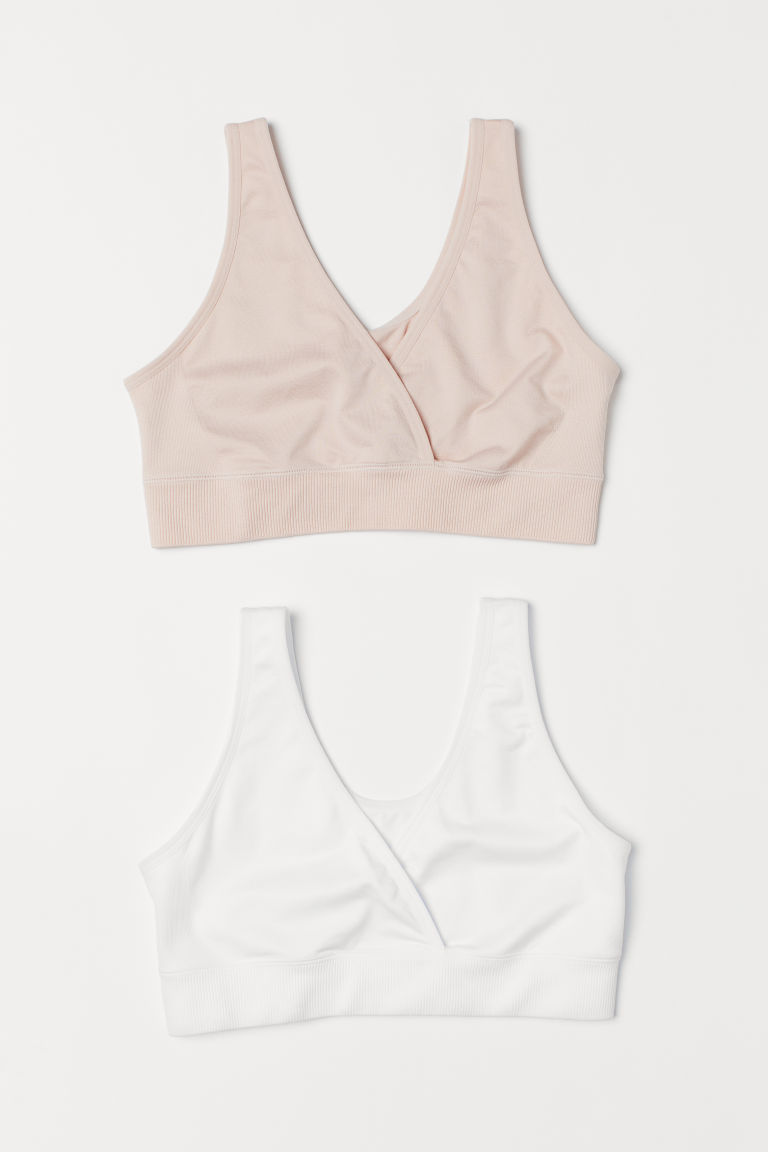 MAMA 2-pack sleep nursing bras - Powder pink/White - Ladies | H&M