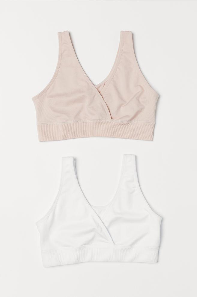 b9df74cf4 MAMA 2-pack sleep nursing bras - Powder pink White - Ladies