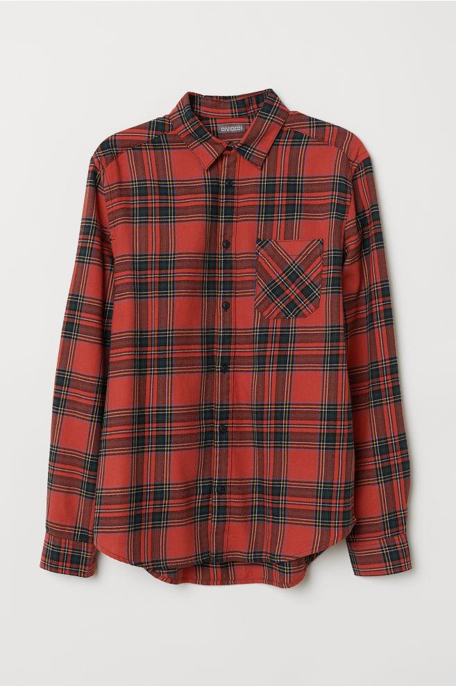Groen Geruit Overhemd.Geruit Flanellen Overhemd Rood Groen Geruit Heren H M Nl