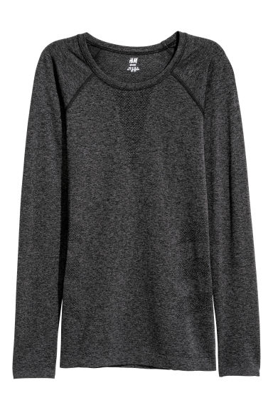 Seamless sports top - Dark grey marl -  | H&M IE