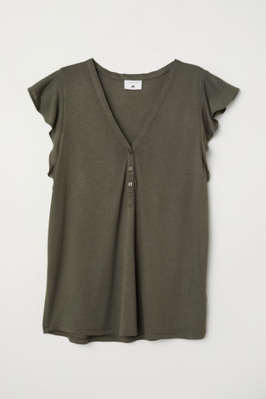 Flounce-sleeved top - Dark khaki green - Ladies | H&M CN