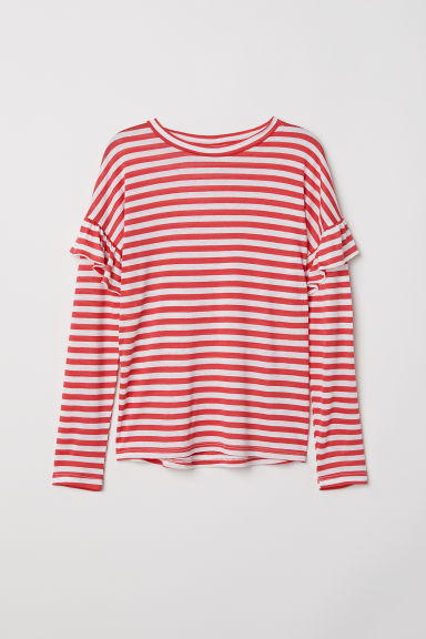 Top with flounces - Red/White striped -  | H&M CN